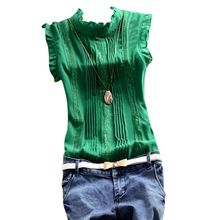 2016 Summer Women Ruffle Sleeve Neck Slim Fitted Shirts Work Tops Blouse Tee Hot 4558