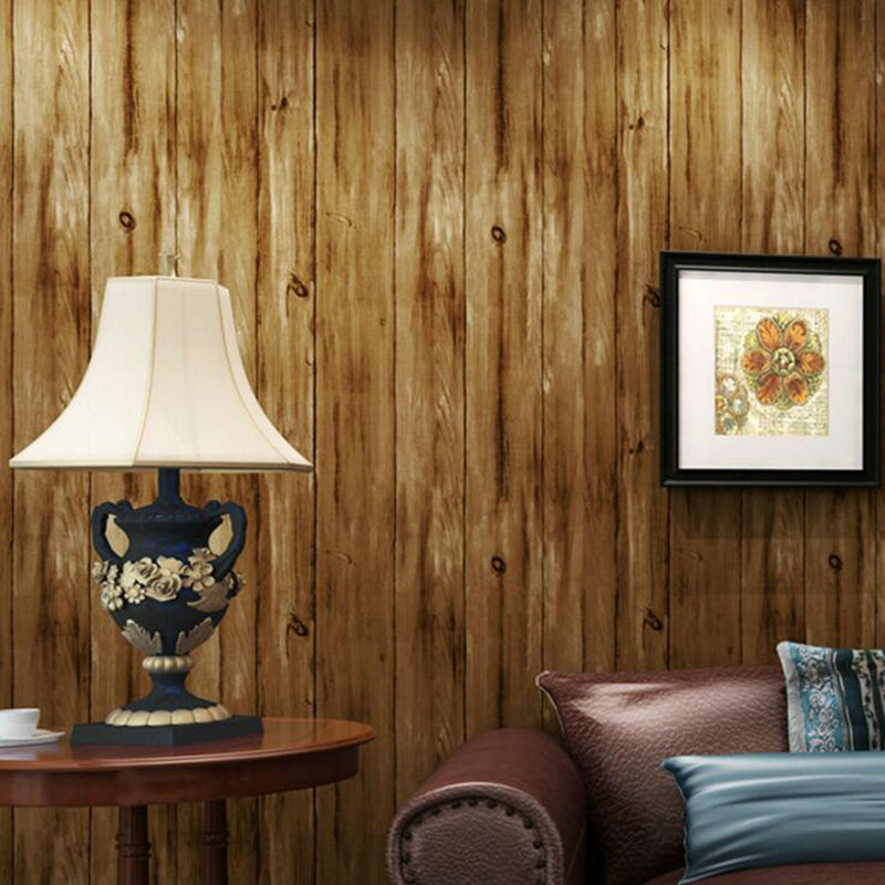 Mediterranean Wood Pattern Stripes Wallpaper Retro 3D Living Rooms Wallpapers Vintage Home Decoration<br>
