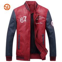 Fashion Male PU Leather Jackets 2017 Autumn Winter Letter Printing Mens Pilot Leather Jacket Men Motorcycle Black Blue Red M-XXL(China)