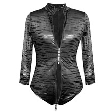 Buy Sexy Women Leopard Two Way Zipper Open Crotch Shiny Bodysuit Plus Size Faux Leather Latex Matt Catsuit Sexy Pole Dance Wear F34