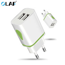 OLAF EU Plug 2 Ports LED Light USB Charger 5V 2A Wall Adapter Compatible for iPhones and iPod other smart phones US USB Charger(China)