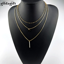 Buy Godzgift Women Fashion Jewelry Necklaces & Pendants 3 Multi Layer Necklace Tassel Charm Bar Statement Necklace Gift JN0039 for $1.48 in AliExpress store