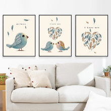Modern Aluminum Alloy Frame Warmth Bird Metal Photo Frame Print Canvas Posters Wall Art Picture Nordic Home Decor Frame Painting(China)