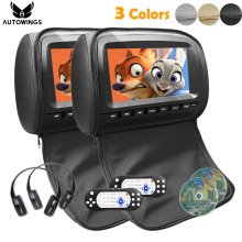 2x 9 inch Leather Cover Car Headrest Monitor DVD Video Player TFT LCD Screen Support USB/SD/FM/Game/Speaker Wireless Headphone(China)