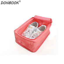 Donbook Waterproof Outdoor Travel Shoe Bag Portable Nylon Folding Shoes Storage Bags Box Organizer SNB03(China)