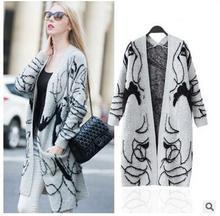 autumn winter women fashion Beauty print long cardigans sweaters free shipping