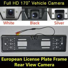 Waterproof 170 degree HD CCD 520TV Night Vision European License Plate Frame Backup Car Number Rear View RearView Reverse Camera(China)