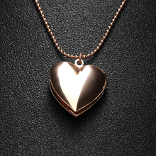 1 Pcs Fashion Girls Silver/Rose Gold Heart Shaped Necklace Friend Lover's Photo Picture Frame Locket Pendant Necklace Gift