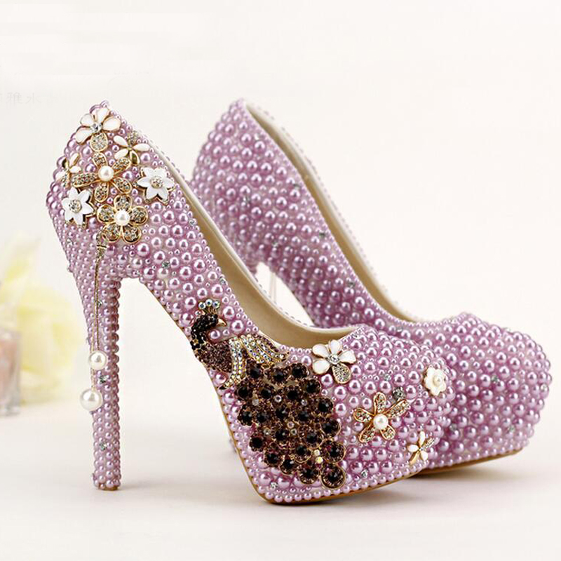 2016 Elegant Women Spring Party Prom Shoes High Heel Bridal Dress Shoes Wedding Shoes Purple Pearl Tassel Fashion Banquet Pumps<br><br>Aliexpress