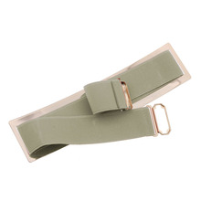 2017 KLV Mirror Belt  hot sale stylish new Women Waistband Gold Metal Elastic Strap Clasp Closure Mirror Belt 17May 19