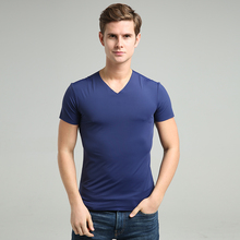 Men high-elastic cotton t-shirts 2017 Summer new arrival men's short sleeve v neck tight sexy solid t shirt very good quality(China)