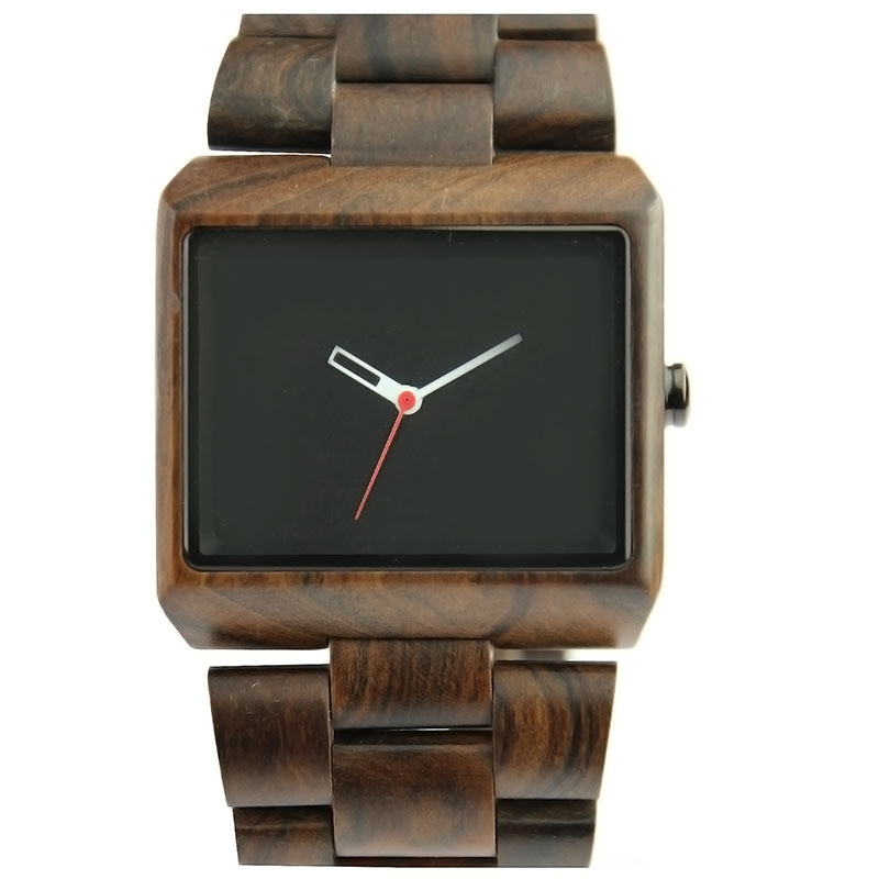 Высокое качество Мужские квадратное лицо часы наручные часы бизнес 2017 полный деревянный бамбука Qaurtz часы для мужчин Luxury Relogio Masculino(China)