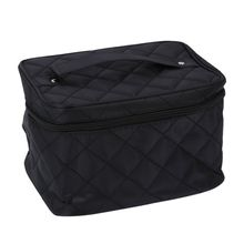 New Zipper Cosmetic Storage Make up Bag Handle Train Case Purse-L black(China)