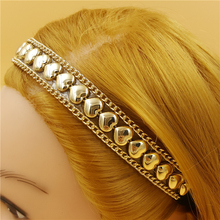 120pcs/lot women lady's sparkly fashion gold color heart-shaped rivet  Headband luxury retro Hairband Hair Band Accessories