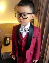 Custom Made Boy Tuxedos Shawl Lapel Children Suit Navy Blue/Dark Red Kid Wedding/Prom Suits (Jacket+Vest+Pants+Tie +Shirt) NH16