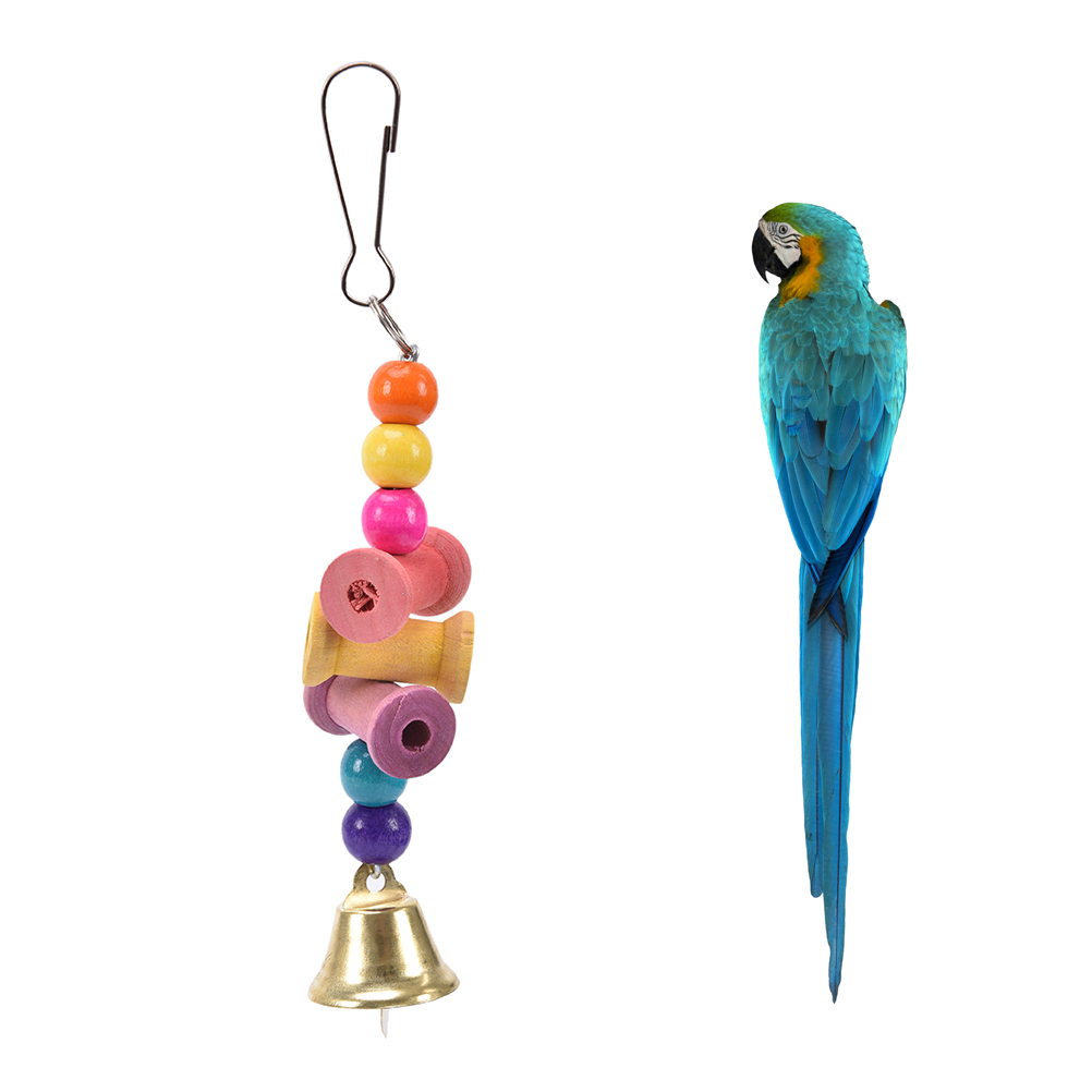 2019 New Parrot Bird Toys Wood Metal Ring Bell Hanging Cage Toys For Parrot Squirrel Parakeet Birds Bird Accessories
