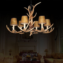 Countryside 6 Heads Chandelier for Home lighting indoor christmas lamp pendentes e lustres Antlers wooden pendant chandelier