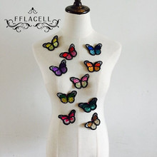 10pcs Embroidery Butterfly Sew On Patch Badge Embroidered Fabric Applique DIY(China)