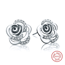 Rose Love Earrings 925 Sterling Silver Earrings Cubic Zirconia Earrings for Mother's Day Gift Sterling-Silver-Jewelry DE132