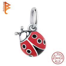 Buy Lovely 925 Sterling Silver Cute Red Ladybug Charm Fit Beads Bracelet Children Fashion DIY Making Jewelry for $5.19 in AliExpress store