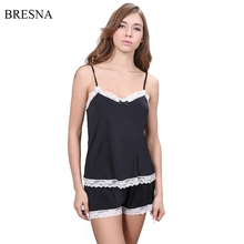 BRESNA Spaghetti Strap Pajamas Sets With Lace Women's Homewear Home Suit Rayon Sleep Wear Summer Thin Negligees Black Pink(China)