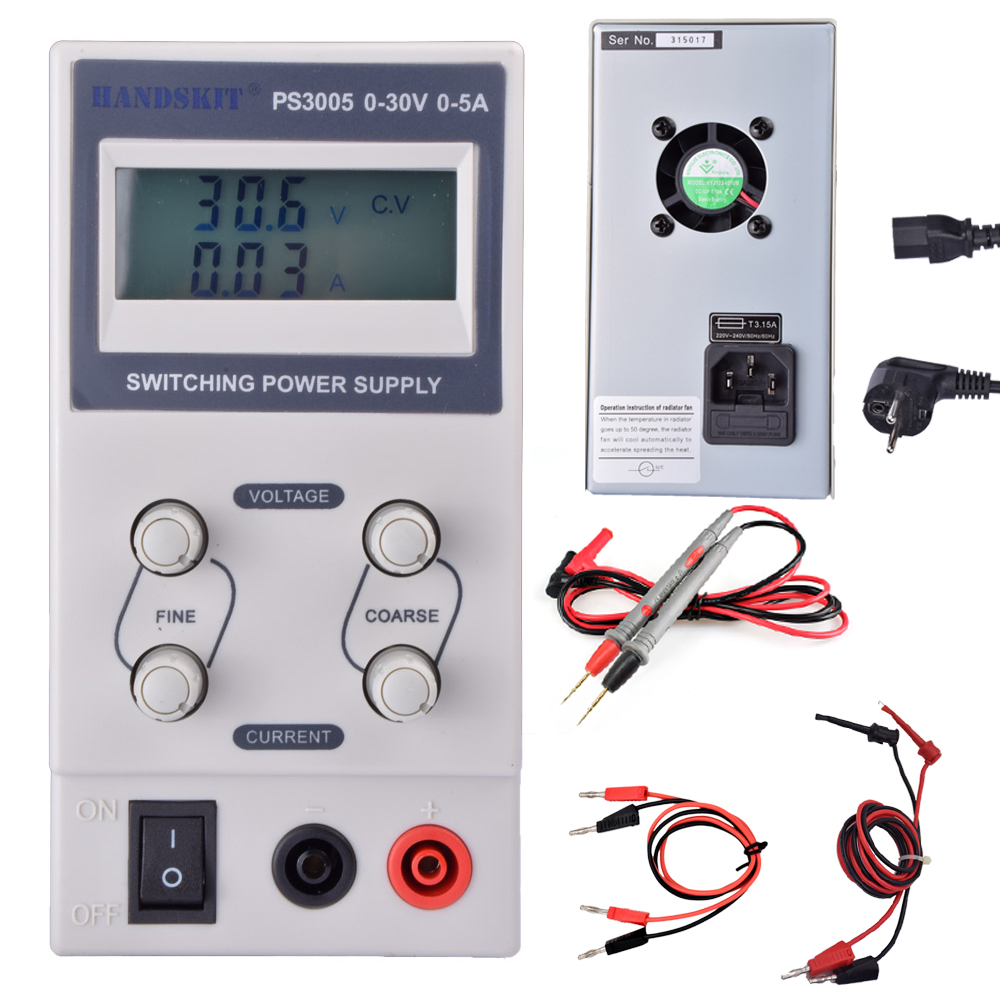PS3005 Adjustable Variable Portable Mini DC Switching Power Supply Output 0-30V 0-5A Support AC 110v-220V<br>