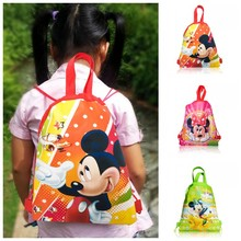 New+Top Selling,1PCS Mickey Drawstring Backpacks School Shopping Bags 34*27CM Non Woven Fabrics Kids Birthday Party Best Gift