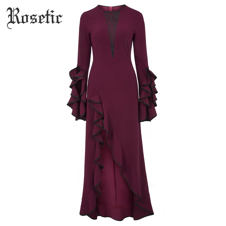 Rosetic Dress Women Spring Falbala Ruffles Long Sleeve Patchwork Lace Hollow Asymmetric Dress Knitted Fabric Maxi Long Dresses