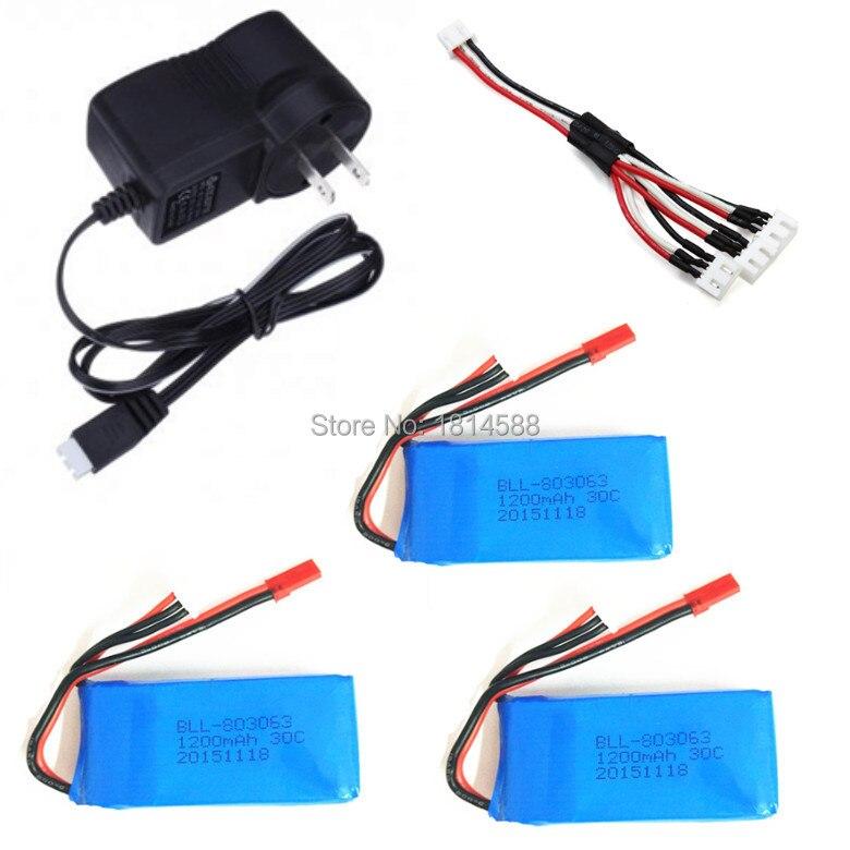 Yi Zhan Tarantula X6 H16 MJX X101 V666 V353B 3PCS Lipo Battery  and Chargers Charge transfer line 7.4v 1200mAh 2S 30C <br><br>Aliexpress