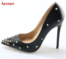Big Size Black Patent Leather Spikes High Heel Shoes Pointed Toe Sexy 12CM Women Pumps 2017 Slip-on Stiletto Heels Dress Shoes(China)