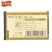 SCUD BL-4C Phone Battery For Nokia 6100 6300 6125 6136S 6170 6260 6301 7705 7200 8208 BL4C 900mAh battery(China)