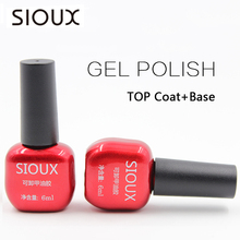 SIOUX 6ml Nail Gel Polish Soak Off UV Top Coat Base Coat Gel Polish Long-lasting Gel Lacquer Gelpolish SI01
