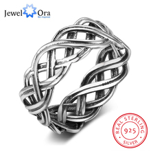 Solid 925 Sterling Silver Female Rings With 7mm Wide Lace Weaving Engagement Rings Jewelry Rings(JewelOra RI102791)