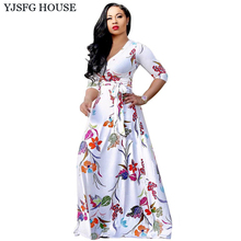 YJSFG HOUSE Women Autumn Long Sleeve Evening Party Dress Vintage Sexy Ladies Long Sleeve Floral Print Maxi Dress Long Tunic Robe