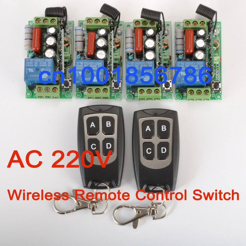 Free shipping 220V 1ch Wireless Remote Control Power Switch System 4 Receiver&amp; 2 Transmitter 10A Light Lamp LED SMD ON OFF<br><br>Aliexpress