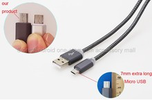 1m/100cm 2.4A 7mm Long Micro USB Plug Connector Fast Charging Cable Charger Cabel for Mobile Cell Phone/Oukitel k10000/k6000 pro