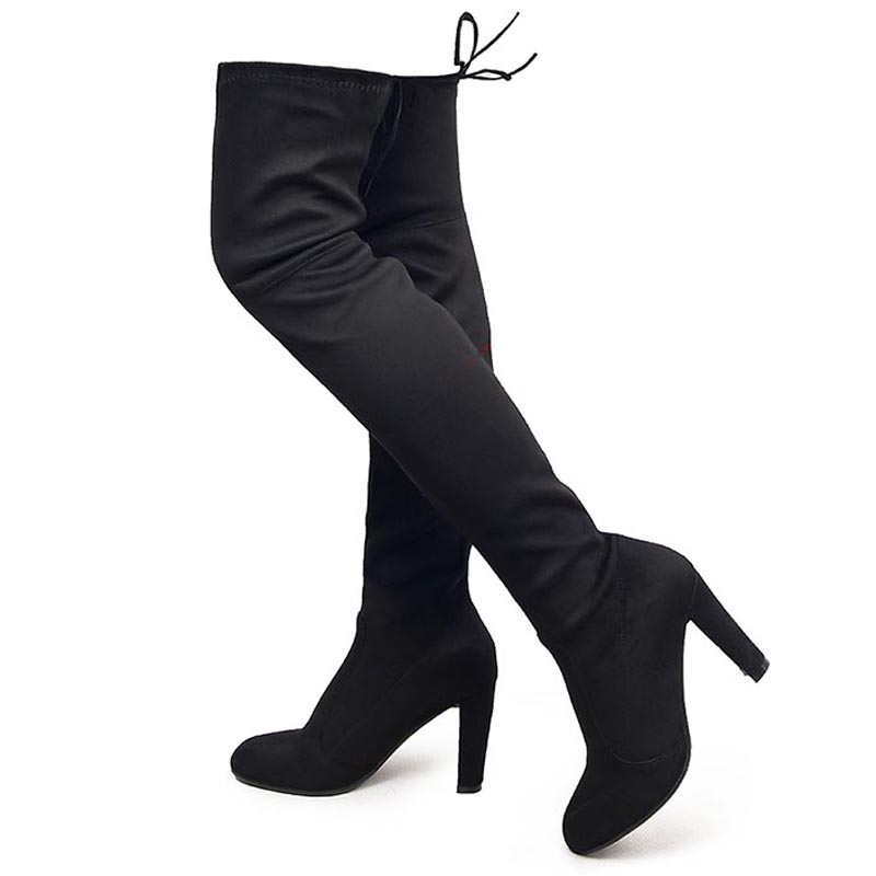 New Women Stretch Fabric Slim Thigh High Boots Sexy Over the Knee Boots For Women Ladies Motorcycle Boots High Heels Woman Shoes<br><br>Aliexpress