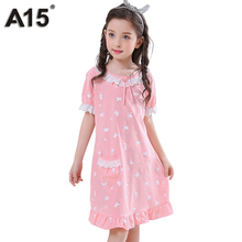 A15 Girls Pajama Dress Baby Children Nightgown Sleep Wear Cotton Princess Nightgown Kids Girls Pijamas Summer 2017 Size 10 12 14(China)