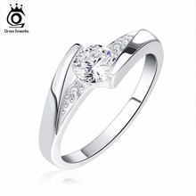 ORSA JEWELS Lead & Nickel Free Women Silver Color Ring with AAA Austrian Crystal Elements 2017 Hot Sell CZ Rings Wholesale OR02