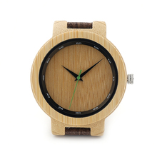 BOBO BIRD D17 Bamboo Wood Watch Men Wooden Grain Leather Band Scale Circle Green Pointer Quartz Watches for Men Women Gift Box