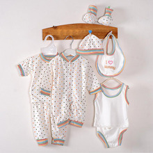 8Pcs/lot 100% Cotton Sets Baby Spring Summer Newborn Infant Clothing Set Baby Boys Girls Clothes Tracksuits 0-3 Months F1(China)