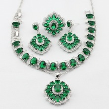 Charms Silver Color Oval Green Created Emerald Necklace Pendant Earrings Rings bracelet Women Jewelry Sets Gifts