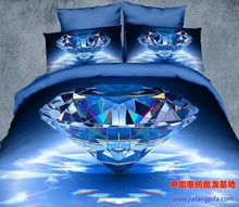 3D Blue diamond designer bedding sets for queen size quilt duvet cover sheets bed in a bag bedspreads bedroom linen oil painting