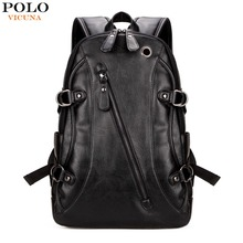 VICUNA POLO Famous Brand Men Laptop Backpack With Earphone Hole Casual Cool Men's PU Leather Rucksack Fashion mochila masculina(China)