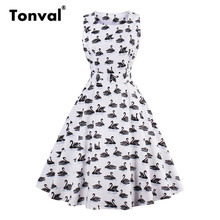 Tonval 2017 Summer Swan Print Cute Dress Women Vintage Tie a Knot Gorgeous Floral Swing Dresses Elegant White Casual Dress