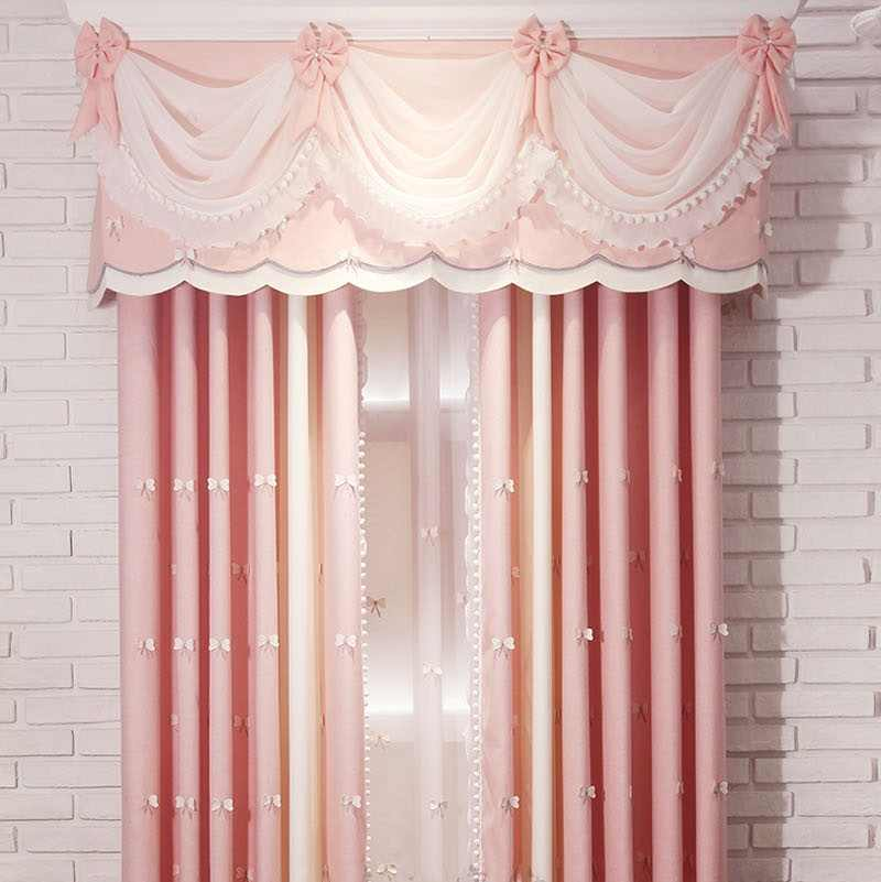 Cartoon Window Decoration For Kids Bedroom Cute 3D Bow Blackout Finished Curtain Fabric Tulle For Baby Girls Room T153#4