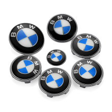 7Pcs BMW Hood Emblem Badge+Rear Logo+Wheel Hub Cap+Car Steering Wheel Sticker BMW E46 E39 E36 E34 E30 E53 E90 E60 F30 F10 F20(China)