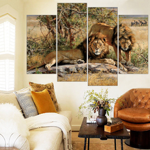 Two Lion Painting HD Printed Animals Canvas Print Room Decor Print Poster Modular Pictures Wall Painting Free Shipping Frameless