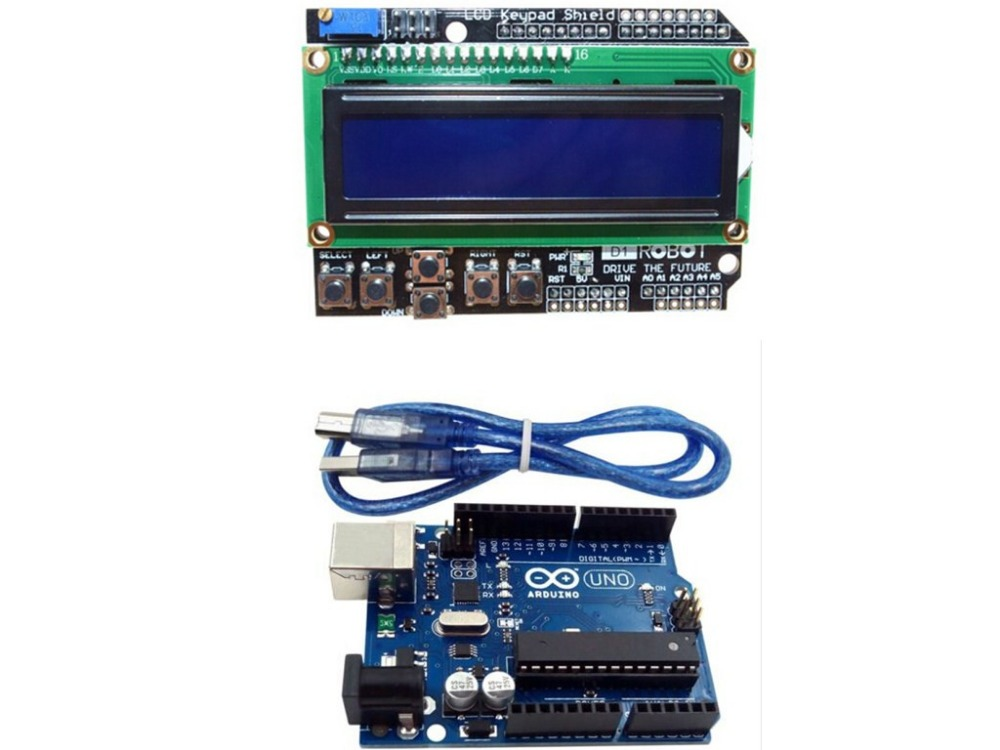 UNO R3 + LCD1602 Keypad Shield Starter Kit For Arduino MEGA328P-AU(China (Mainland))