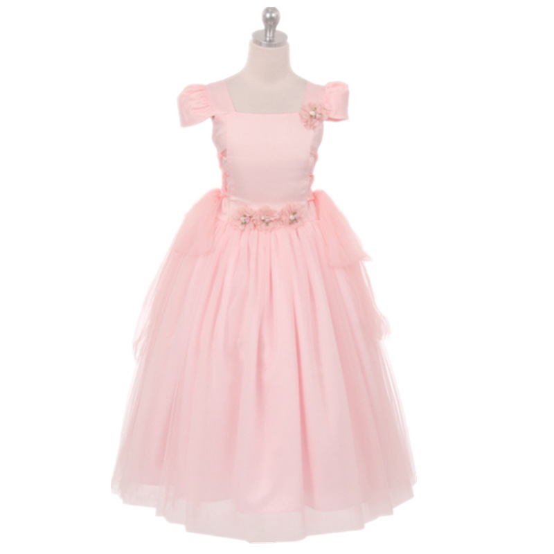 2017 Hot Pretty Scoop Ball Gown Belt ankle Length Girls First Communion Wedding Party Dress flower girl dress pink<br>